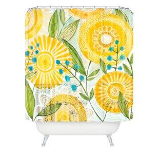 Brayden Studio Donmoyer Sun Burst Flowers Extra Long Shower Curtain