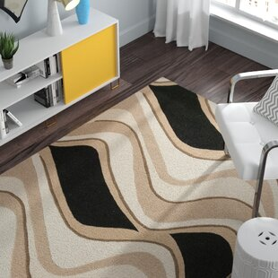 Read Reviews Cheston Black & Beige Waves Area Rug By Zipcode Design