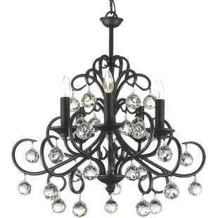 Weigand 5-Light Wrought Iron Base Candle Style Chandelier