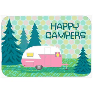 Happy Campers Glamping Trailer Glass Cutting Board