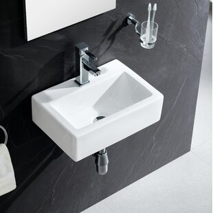 Modern Ceramic 17 Wall Mount Bathroom Sink