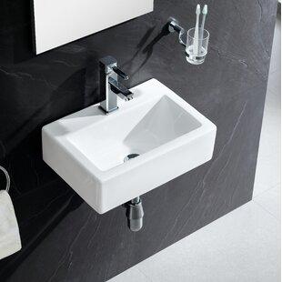 Modern Ceramic 17 Wall Mount Bathroom Sink By Fine Fixtures