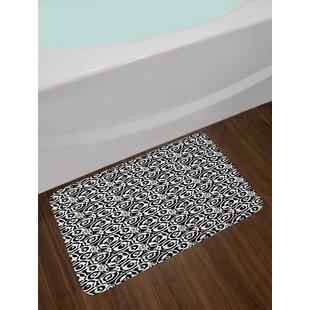 Circular Pattern Black And White Bath Rug