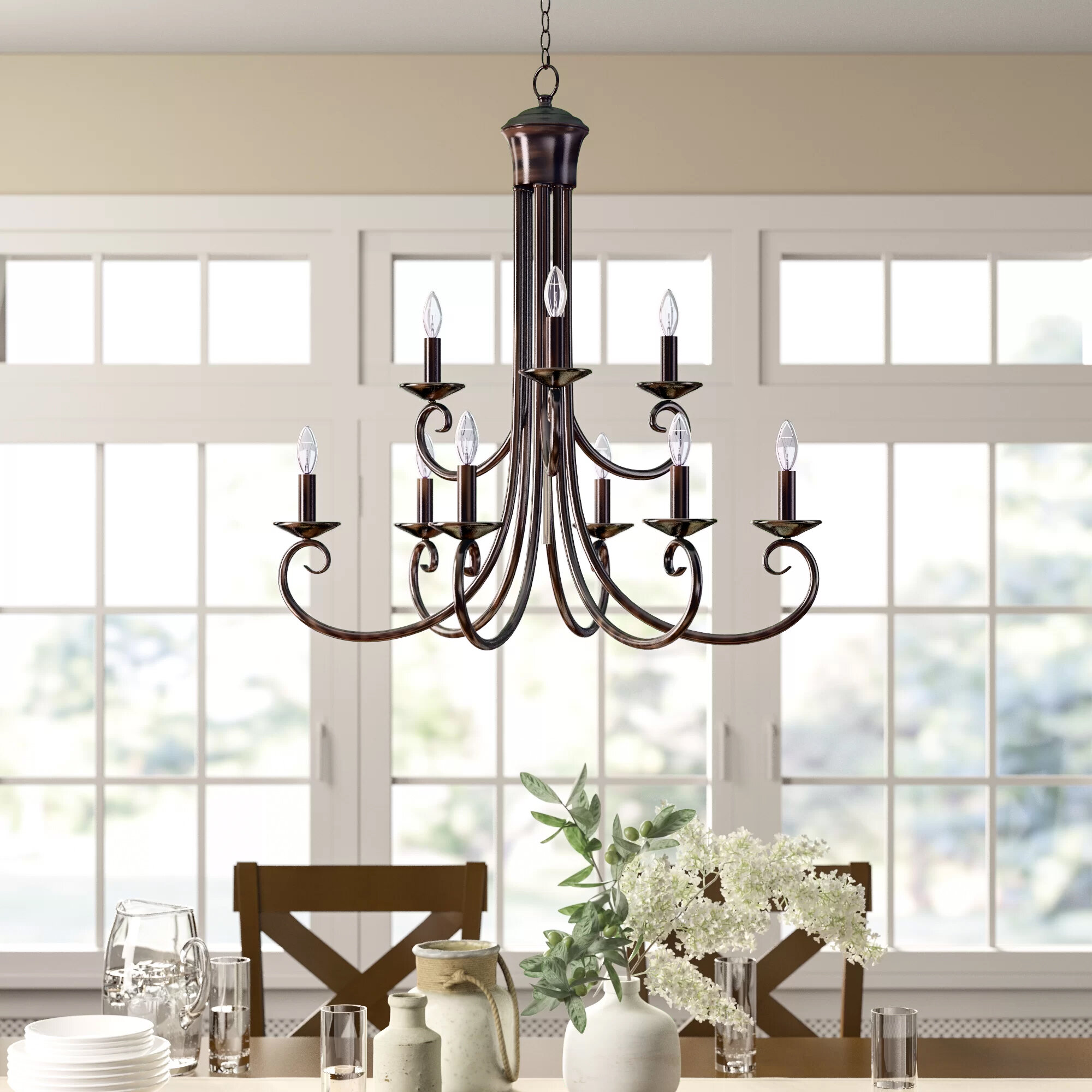 Charlton Home Kenedy 9 Light Candle Style Tiered Chandelier Reviews Wayfair