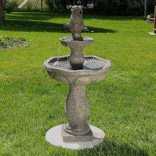 Astoria Grand Dunkley Fiberglass Button Shell Pineapple 2-Tier Water Fountain