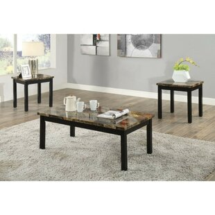 Screven Transitional Wood and Faux Marble 3 Piece Coffee Table Set by Fleur De Lis Living
