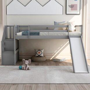 Twin Low Loft Bed with Shelf by Harriet Bee