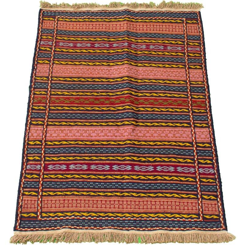 Foundry Select Winship Handmade Kilim Wool Dark Navy Salmon Rug Wayfair