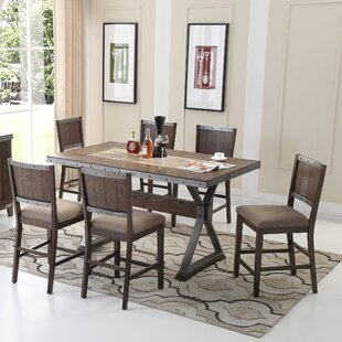 BestMasterFurniture 7 Piece Counter Height Dining Set