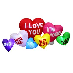 Valentineu0027s Day Inflatable Colorful Hearts With Love Messages Yard  Decoration