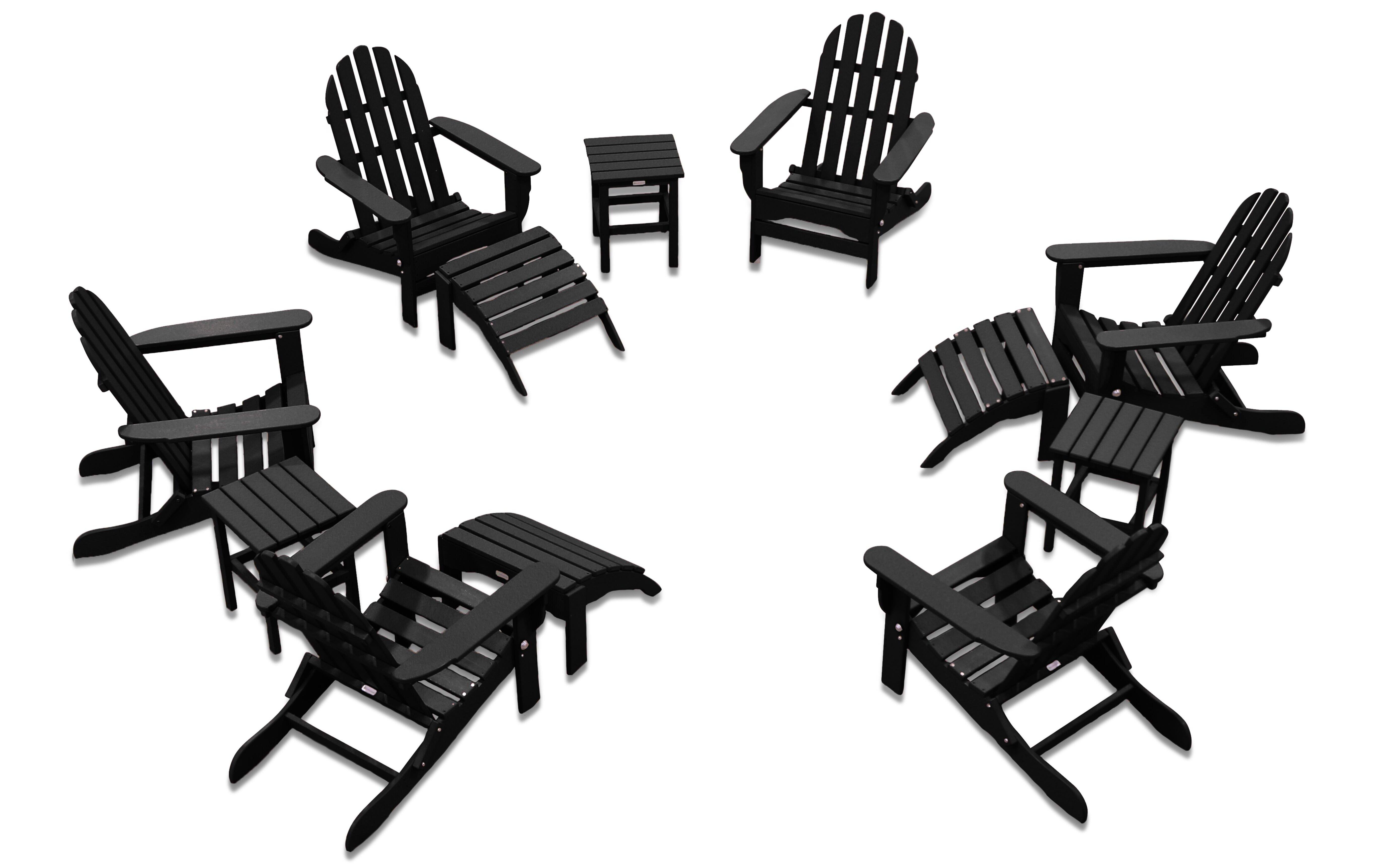 August Grove Keilson Plastic Resin Folding Adirondack Chair With Ottoman And Table Reviews Wayfair