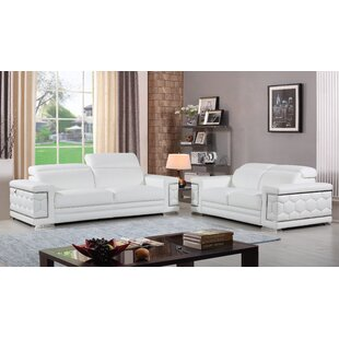White Italian Leather Sofa Set | Wayfair