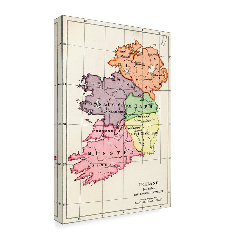 Map Of Ireland Print.Charlton Home Map Of Ireland 1588 To 1610 Drawing Print On Wrapped