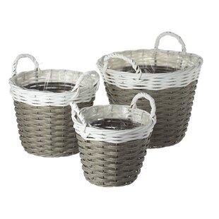 Wicker 3 Piece Basket Set By Brambly Cottage