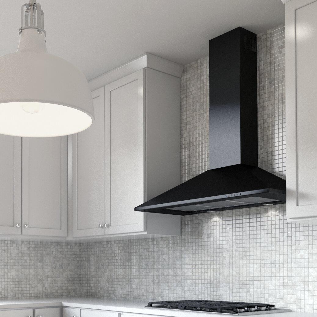 Xo Appliance 30 395 Cfm Ducted Wall Mount Range Hood In Black Wayfair