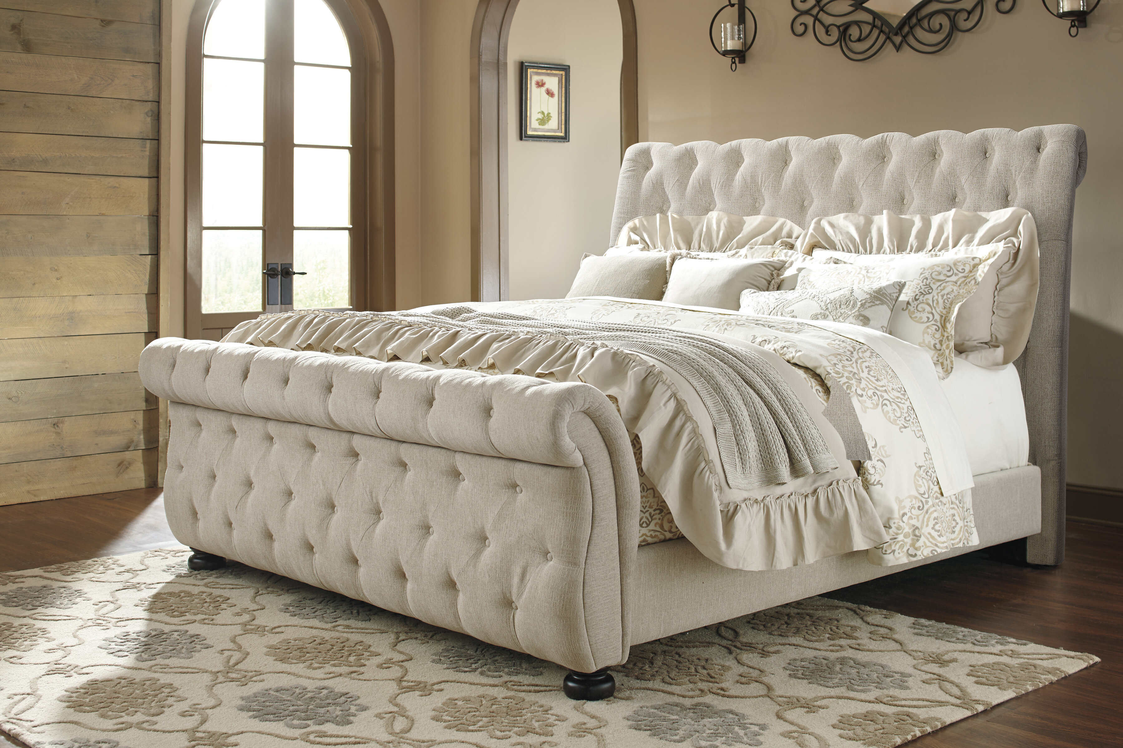 faith upholstered king tufted vintage sleigh bed ideas