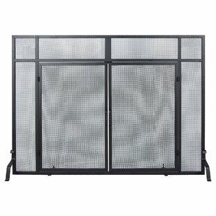 Windowpane Single Panel Iron Fireplace Screens by Minuteman International