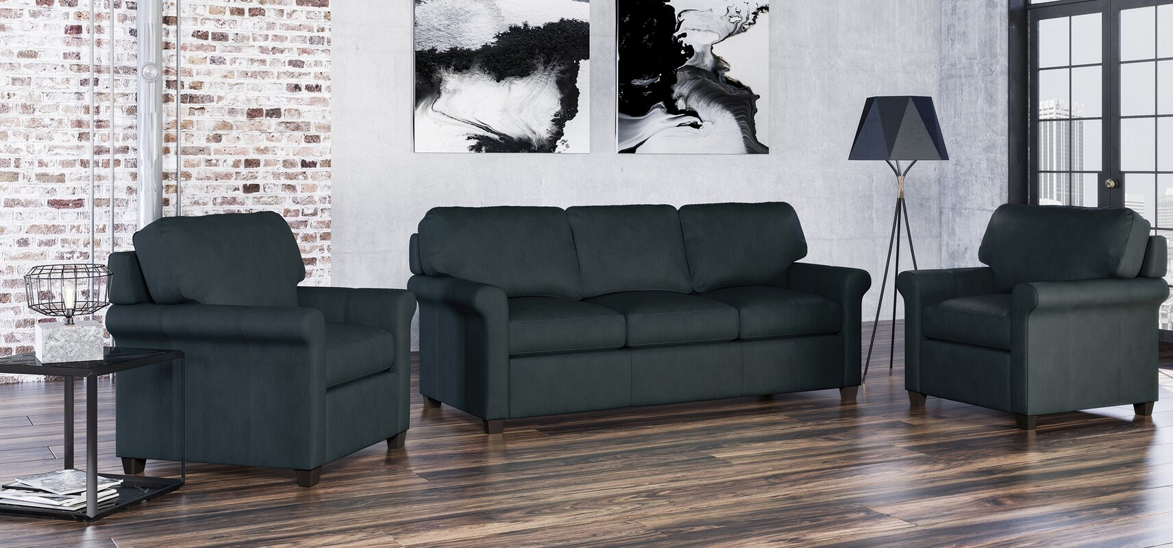 Westland and Birch Menno 3 Piece Leather Living Room Set