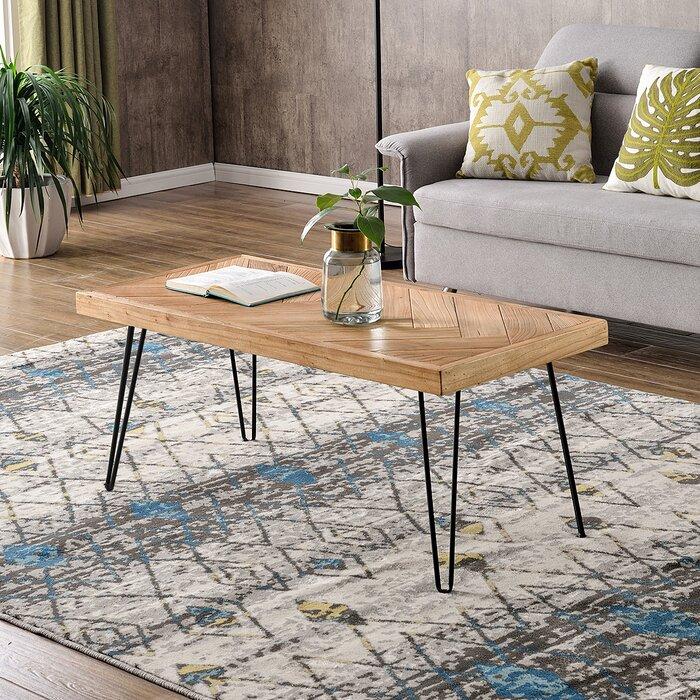 Hairpin Leg Coffee Table.Modern Hairpin Legs Design Wooden Coffee Table