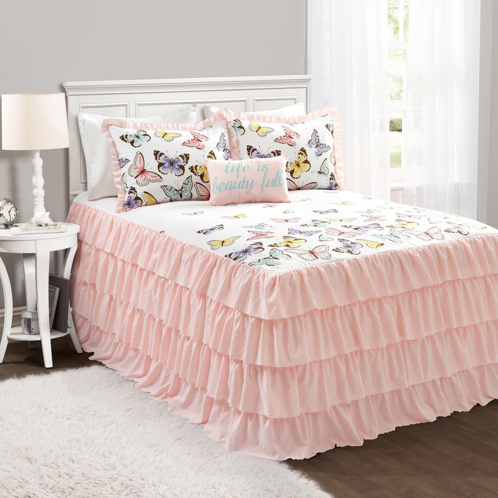 Pink Duvet Covers Flutter Butterflies Floral Reversible Bedding Quilt Sets Duvet Covers Bedding Sets Home Garden