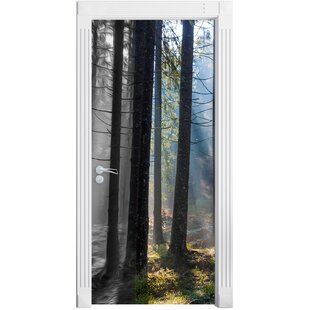 House In Forest With Sun Rays Door Sticker By East Urban Home