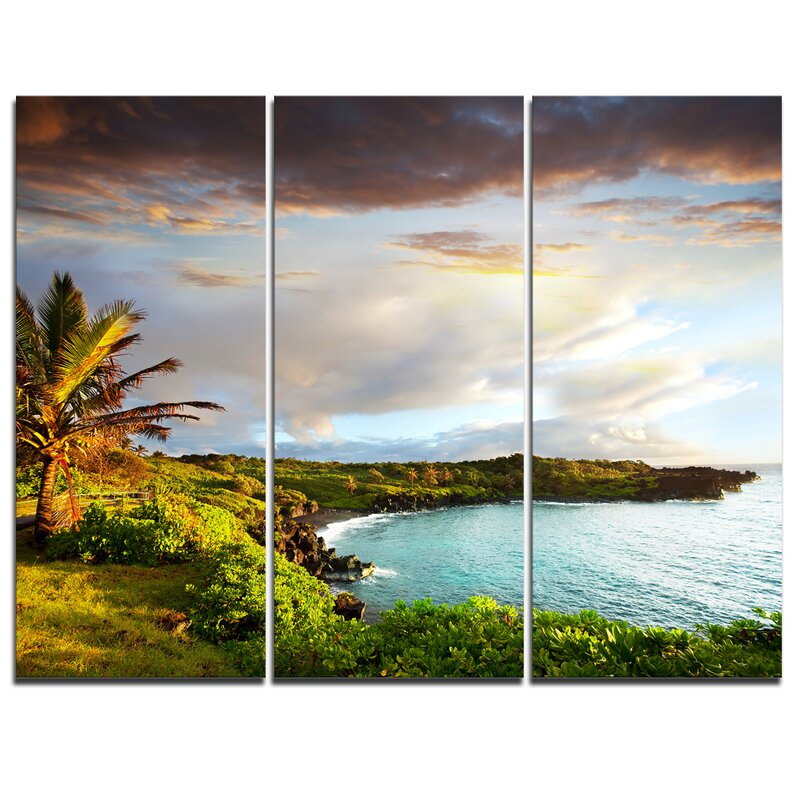 Designart Hawaii Oahu Island 3 Piece Photographic Print On Wrapped Canvas Set Wayfair