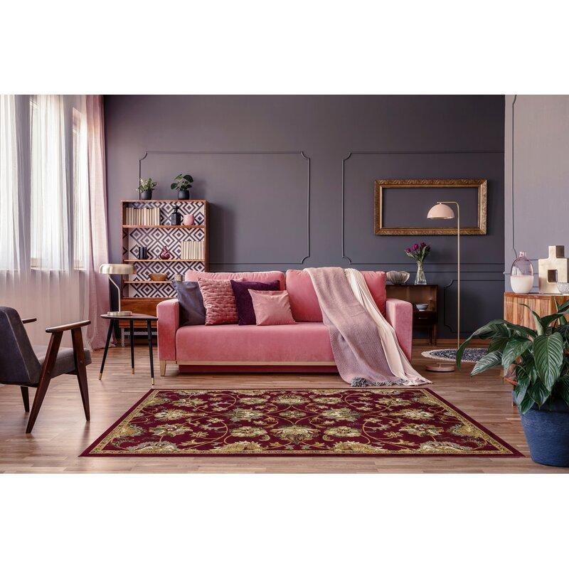 Charlton Home Alondra Floral Burgundy Brown Area Rug Reviews Wayfair