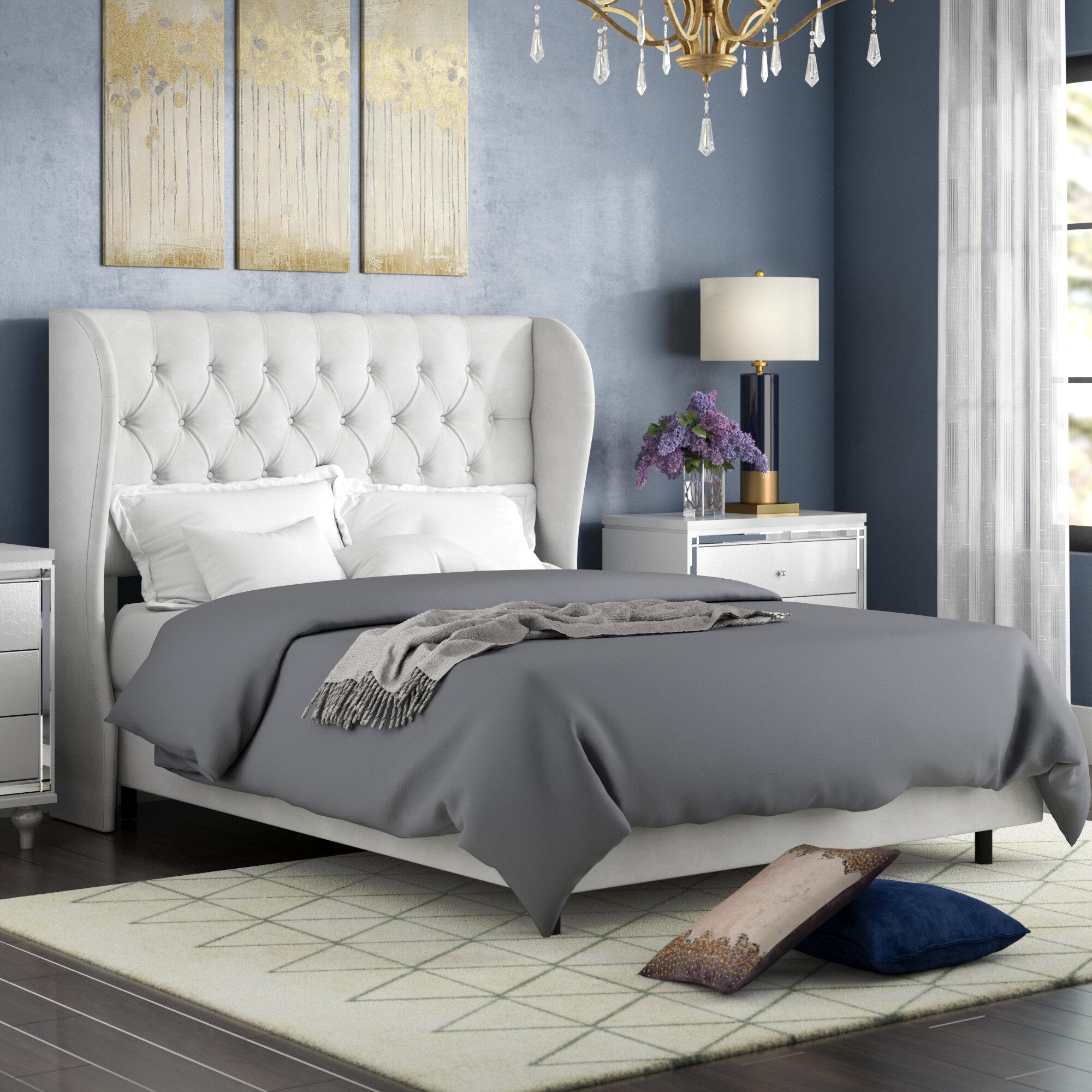 Willa Arlo Interiors Alcantara Diamond Tufted Upholstered Standard Bed Reviews Wayfair