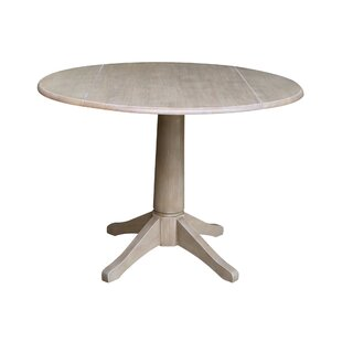 Angelia Drop Leaf Solid Wood Dining Table Canora Grey