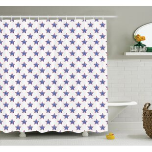 Cynthia Stars Pattern National Independence Decorations Artsy Flag Colored Print Single Shower Curtain
