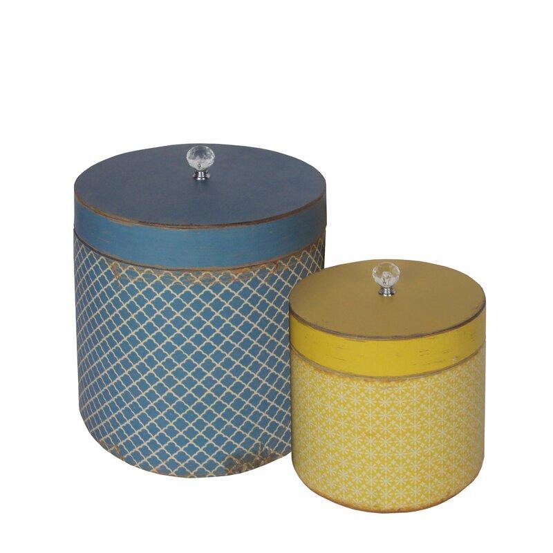 American Mercantile 2 Piece Wood Round Hat Box Set Wayfair