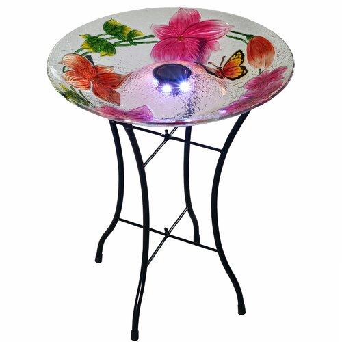 Outdoor Flower Fusion Glass Solar Bird Bath Sol 72 Outdoor