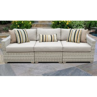 Fairmont Wicker Patio Sofa with Cushions
