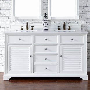 Osmond 60 Double Cottage White Wood Base Bathroom Vanity Set by Greyleigh