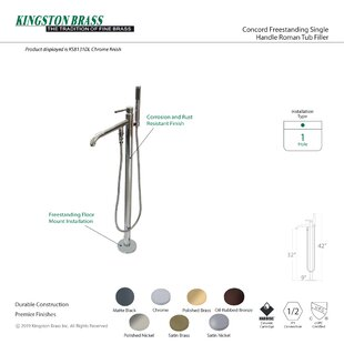 Concord Single Handle Pillar Roman Tub Faucet with Telephone Shower Set by Kingston Brass