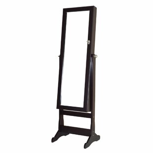 Alcott Hill Calderon Lockable Free Standing Jewelry Armoire with Mirror