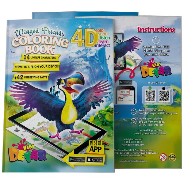 DEVAR 4D Augmented Reality Come To Life Coloring Books Winged Friends