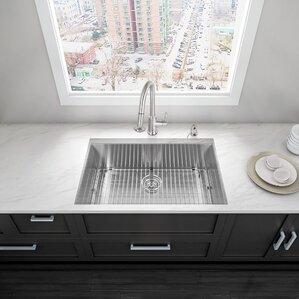 VIGO Alma 32 inch Undermount 16 Gauge Stainless Steel Kitchen Sink