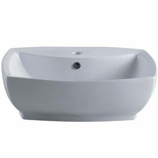 Elements of Design Marquis China Ceramic Rectangular Vessel Bathroom Sink with Overflow