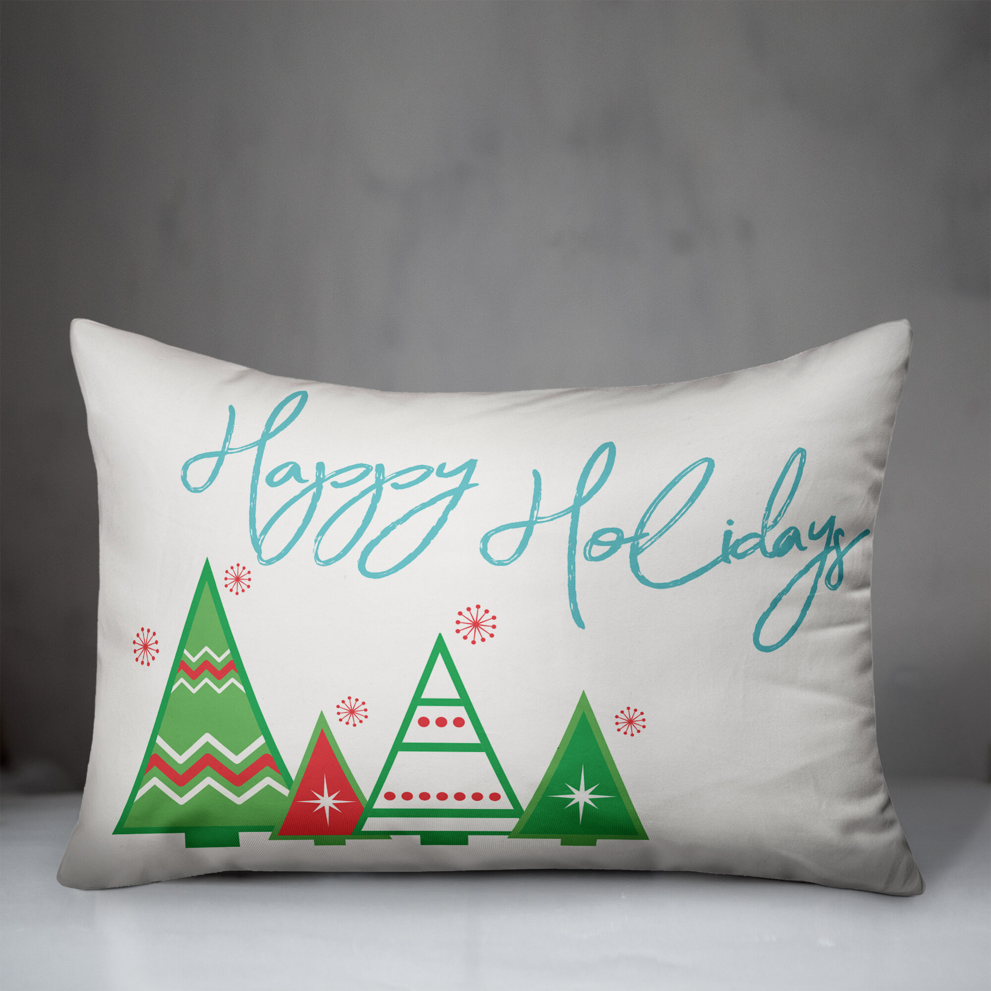 The Holiday Aisle Butcher Happy Holidays Striped Trees Lumbar Pillow Cover Wayfair