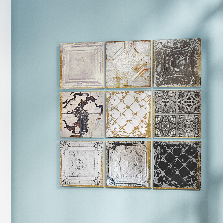 Rosdorf Park Vintage Tin Tiles 9 Piece Canvas Wall Art Set Reviews Wayfair