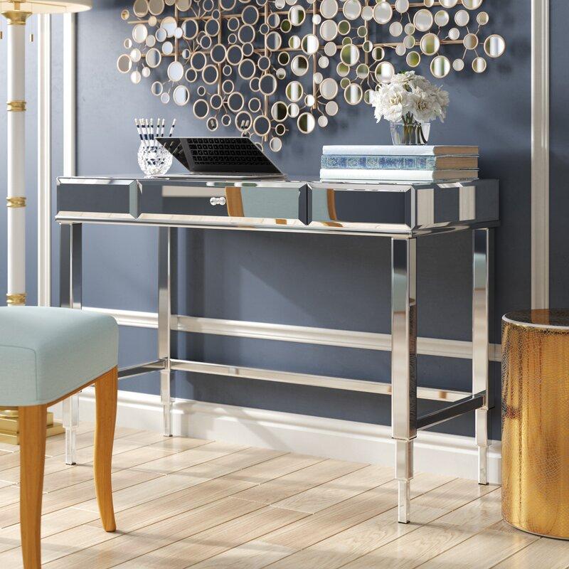 willa arlo interiors guidinha glass writing desk reviews wayfair rh wayfair com glass and chrome writing desk small glass writing desk