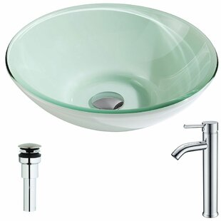 ANZZI Sonata Glass Circular Vessel Bathroom Sink with Faucet