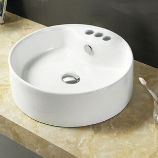 American Imaginations Ceramic Circular Vessel Bathroom Sink with Overflow