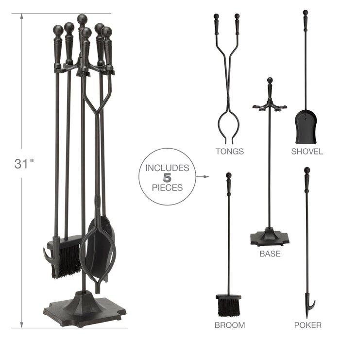 5 Piece Iron Fireplace Tool Set