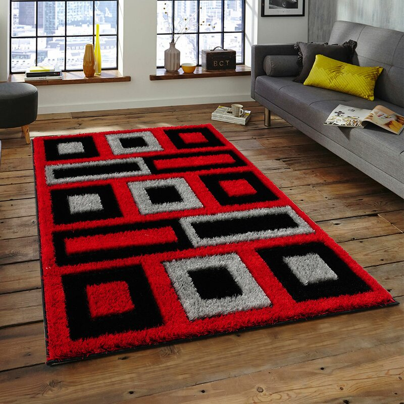 Rugs Latin 124 Red Black Area Rug