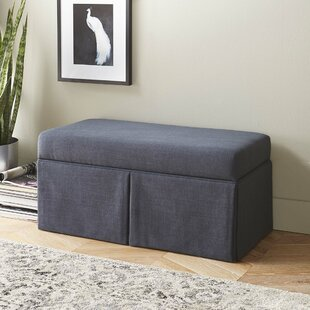 Highland Dunes Arbor Glen Linen Wood Skirted Storage Bench