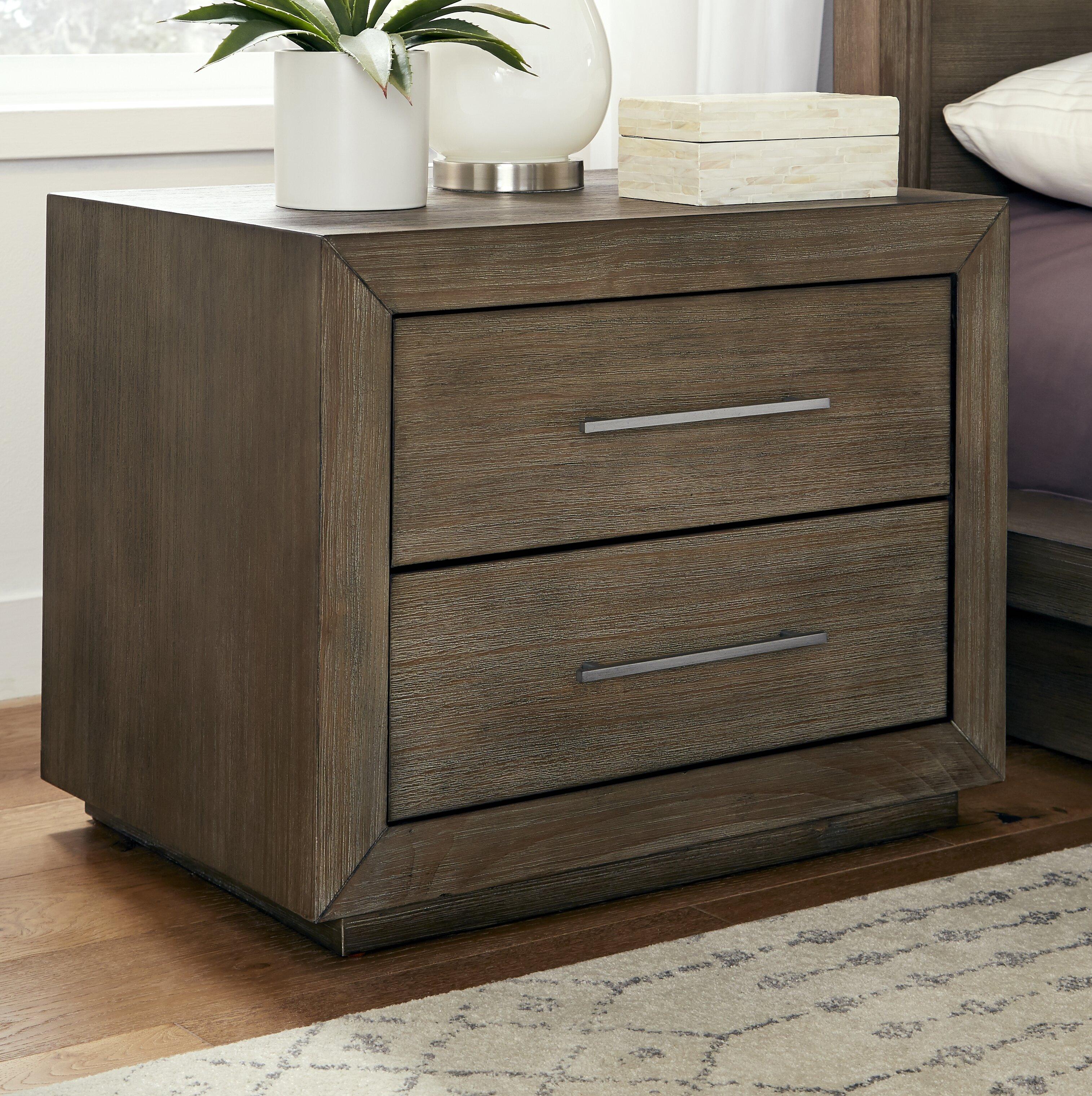 Joss Main Arruda 2 Drawer Solid Wood Nightstand In Brown Reviews Wayfair