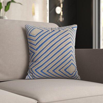 Mercury Row Keese Cotton Pillow Cover Size: 22 H x 22 W x 1 D, Color: Blue/Brown