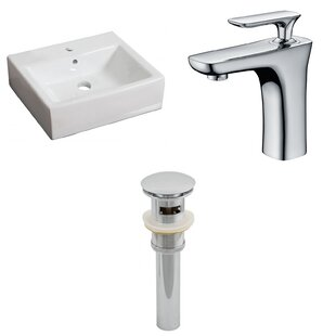 Ceramic 21 Wall-Mount Bathroom Sink with Faucet and Overflow ByRoyal Purple Bath Kitchen